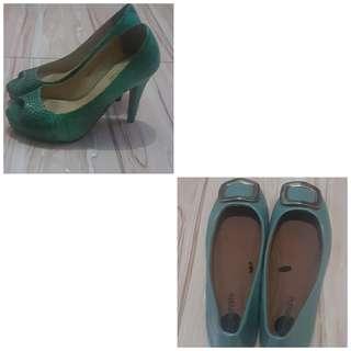 Blue flats & high heels shoes