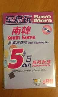 南韓 數據漫遊卡 (五日無限數據)