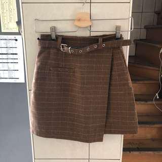 🚚 毛呢格子短裙 附皮帶