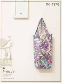 🚚 氣質優雅手繪風格花卉手提環保袋(淡紫色1入) 手作飲料袋 【2579】