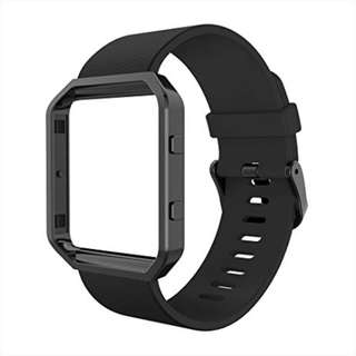 1077. Simpeak Fitbit Blaze Bands with Frame, Silicone Replacement Band Strap with Black Frame Case