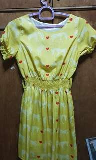 Yellow printed dress (with zebra and hearts pattern)