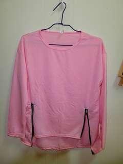 🚚 拉鍊粉色長袖