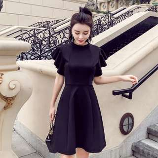 Black Party Dress with Ruffled Sleeves