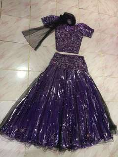 Purplish lengha Bollywood style