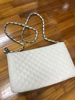 MNG Cream Quilted Handbag