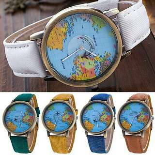 Unisex World Map Wrist Watch