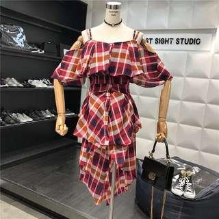 Checked Asymmetrical Off Shoulder Dress