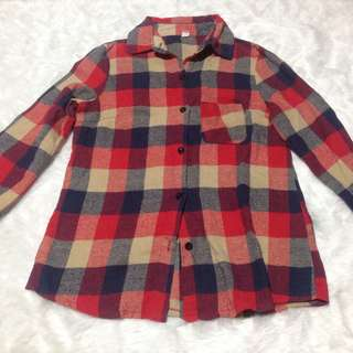Flannel Checkerd Checkered Top Long Sleeve