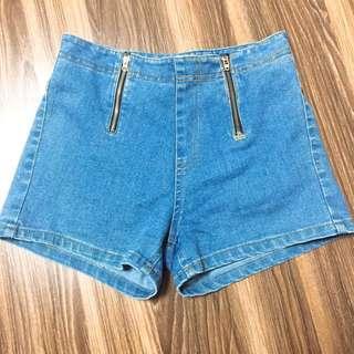 🚚 正韓貨 高腰拉鍊牛仔短褲 #一百元好物