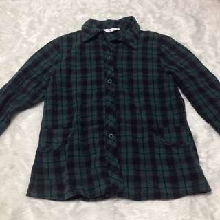 Black & Green Flannel Checkered Checkerd Top