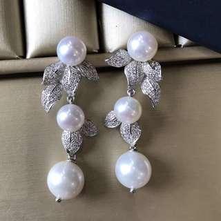 銀飾耳墜 7-11mm淡水珍珠 顏色很亮哦 Fashion freshwater pearl earring