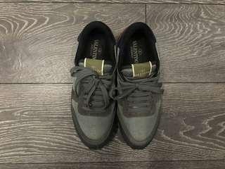 Valentino Garavani Uomo Grey & Navy Leather With Orange & Teal Grey Suede Rockrunner Sneakers