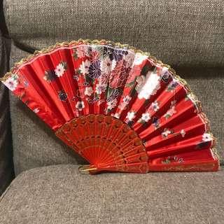 中國摺扇 紅色碎花 婚姻裝飾 佈置 中式結婚 Chinese style decoration cosplay 道具
