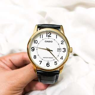 Casio Classic Watch in Gold Hardware & Black Leather Model No. 2784