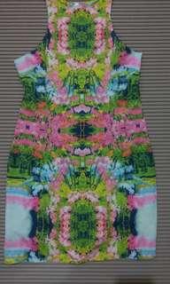 🚚 One size) 高領氣質印花連身裙