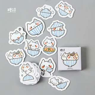 🚚 [BUY 3 FREE 1] 45 piece cat in bowl sticker