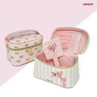 Miniso china makeup pouch pink panther
