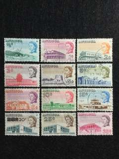 1966 Antigua QE2 Definitives 12 Values Used Short Set