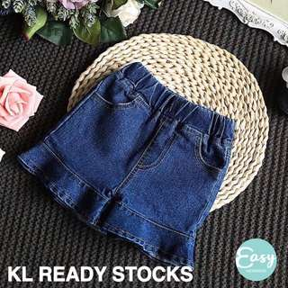 Kids Girl Casual Denim Ruffle Short Pants