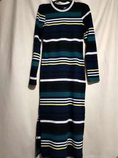 H&M Stipe Maxi Dress with side slits
