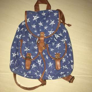 Denim Backpack with Leather straps