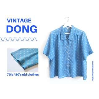 🚚   咚 咚 Vintage  日本古著-流星之絆天藍短袖襯衫