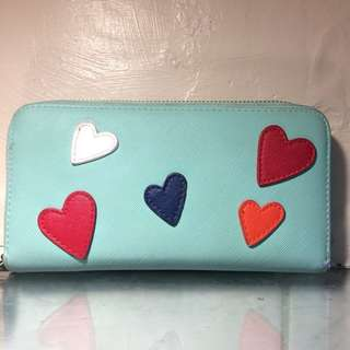 Mint Green w/ embroided hearts Wallet