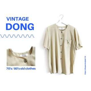 🚚 | 咚 咚 Vintage |日本古著-八墓村卡其蜥蜴短袖衫