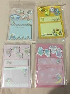 Sanrio post it note (Cinnamon Roll/ Pompompurin/ My Melody/Little Twin Stars)