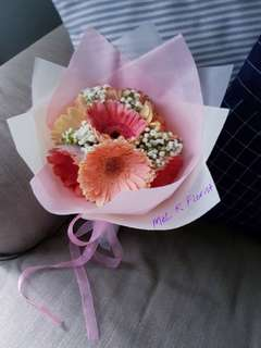 Gerbera Daisies with Baby Breath