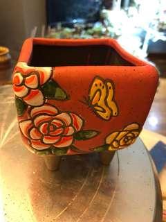 韓式粗陶手繪花盆