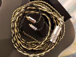 冷涷8绞7n單晶銅鍍金材料+鍍銀混織耳機線 (黑金)3.5 2.5 4.4 mmcx fender campfire shure westone