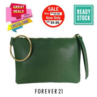 AUTHENTIC FOREVER 21 FAUX LEATHER CLUTCH (GREEN)*CLEARANCE (F21-046SD)