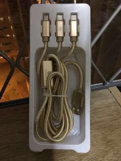 三插頭充電線 Android iphone 可用