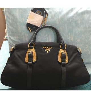 Genuine PRADA Bauletto Tessuto BN1903 bag in nero (black) color