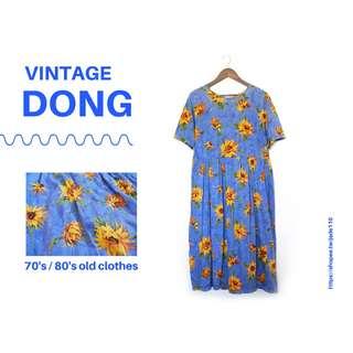 🚚 | 咚 咚 Vintage |日本古著- 天藍朝日葵短袖洋裝