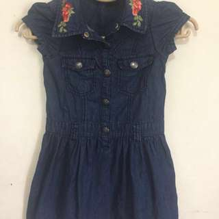 Guess Denim Embroidered Dress 4T