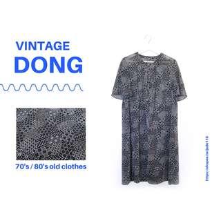 🚚 | 咚 咚 Vintage |日本古著-無意象之城短袖洋裝