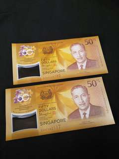 Sg  2pcs of $50 notes 2pc x 52.50¢=$105