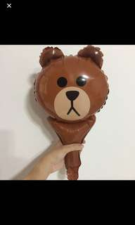 Line Brown Bear - party handheld balloon