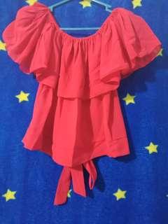 Baju sabrina merah