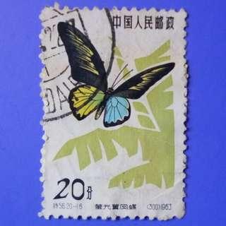 Stamp China 1963 Butterflies Troides magellanicus 20 fen