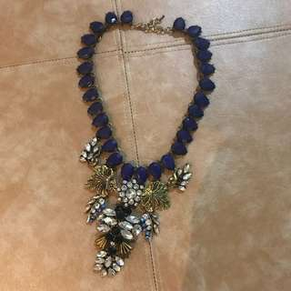 Statement Necklace Blue Gold