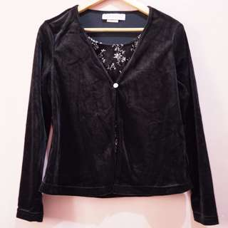 Velvet blazer with blouse stiched inside