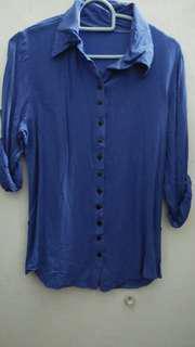 [Preloved] Kemeja tshirt (biru)