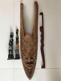 Indonesian mask, Sabah statues and backscratcher
