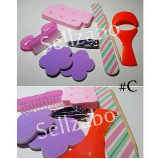 💅 Nails Beauty Tools Sets : 7 Pcs : Care : Grooming : Fingers : Toes : Fingernails : Toenails :  Manicure : Pedicure : Pink : Purple : Colour : Bundle : #C