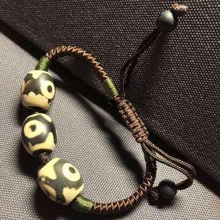 黑玉髓天珠,三跟天珠,手鏈,天珠,15mm