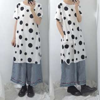 。error dot。日本吐泡泡白X黑圓點洋裝